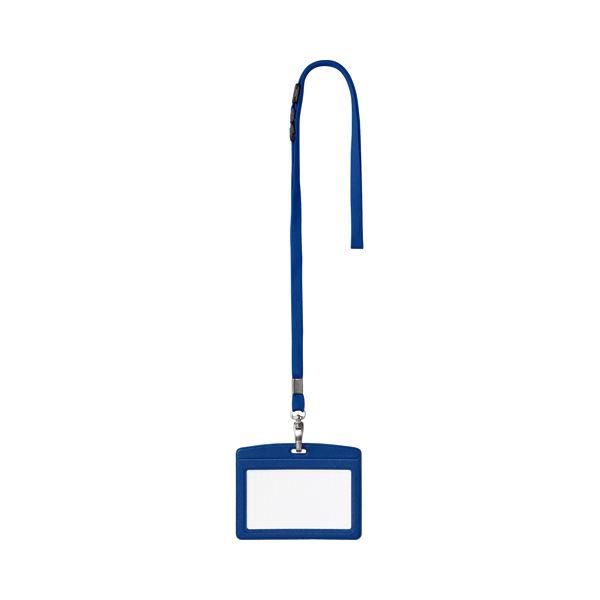 文具・オフィス用品 (まとめ) オープン工業 吊下げ名札 レザー調 ヨコ名刺サイズ 青 N-123P-BU 1セット(10個) 【×2セット】 【角型せんたくネット 付き】名札・プレート 吊り下げ名札