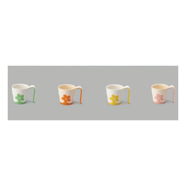 健康器具 (まとめ)三信化工 食事用具 自助食器マグカップ イエロー UPC-180Y【×10セット】 【角型せんたくネット 付き】三信化工 食事用具