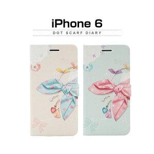 日用雑貨 Happymori iPhone6 Dot Scarf Diary ブルー