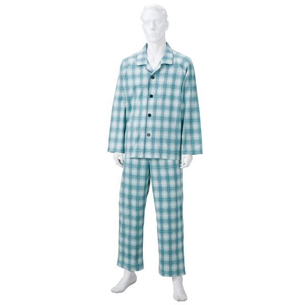 ファッション きほんのパジャマ(寝巻き) 【紳士用 L】 綿100% マジックテープ付き ズボン/前開き [介護用品] グリーン(緑)