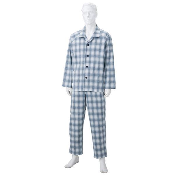 きほんのパジャマ(寝巻き) 【紳士用 L】 綿100% マジックテープ付き ズボン/前開き [介護用品] グレー(灰)