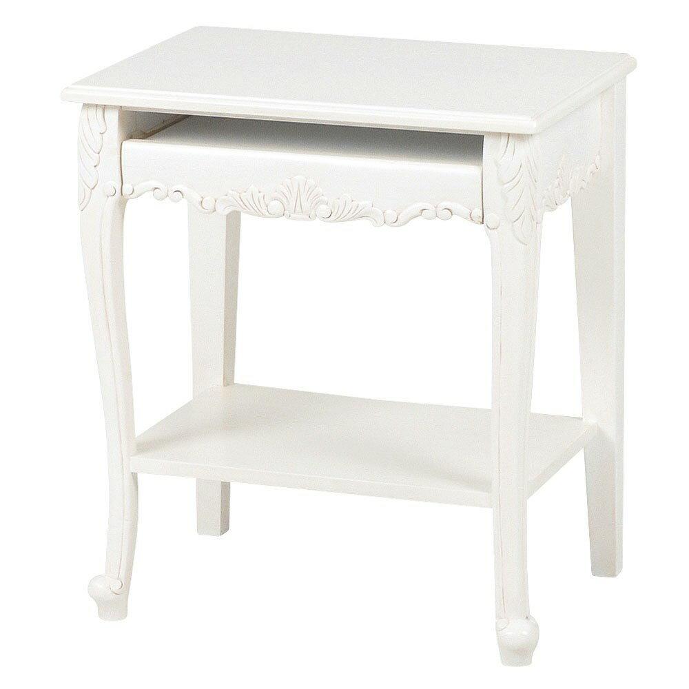 リビング インテリア テーブル エレガント な 彫刻 と ねこ脚 が ポイント 上品 さと 可愛い らしさを 兼ね揃えた VIOLETTA パソコンテーブル ホワイト