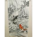 タペストリー 運気上昇の縁起物として人気の図案 生活雑貨 日本画風・縁起物のれん『鯉の滝登り(こいのたきのぼり)』 グレー 85×150cm