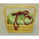竹籠バッグ 竹籠と手織りの本麻が組み合わさった お洒落な 竹バッグ『鈴(りん)』グリーン