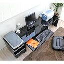 パソコンデスク 収納 デスク/チェスト の2点セット 人気 鏡面仕上ロータイプ150cm幅パソコンデスク2点セット ブラック 日本製 座卓