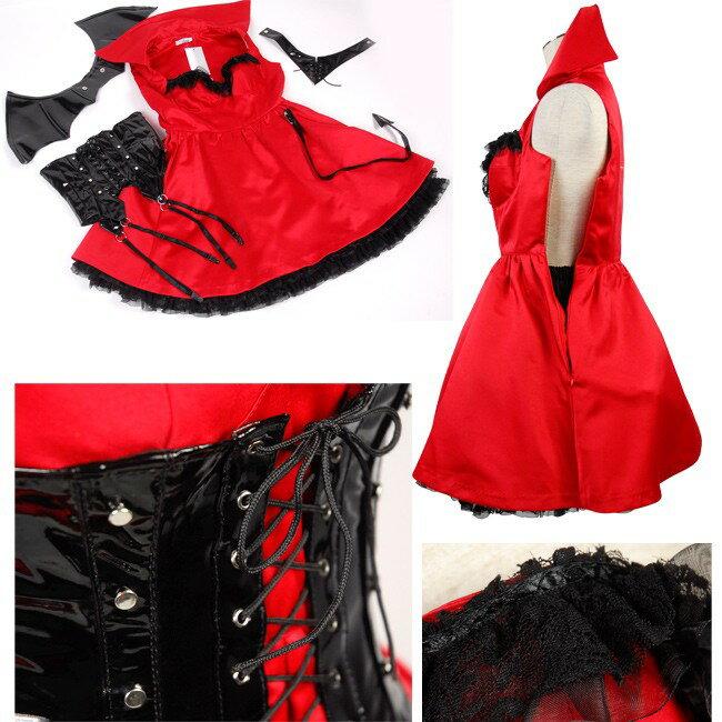 クリスマス ハロウィン 衣装 xmas コスプレ Christmas サンタ サンタクロース の季節 デビル 仮装 小悪魔 真紅のドレスに漆黒の羽のデビルガール  コスプレ コスチューム 衣装 Mサイズ:創造生活館