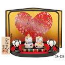 ひな人形 おひなさま ネコ 雛人形 豆猫雛 (白磁・盆のり)