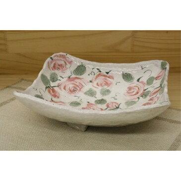 陶器 皿 ステーキ皿 スクエア 春を感じる「季節の器」バラ園 正角盛皿 角皿 正方形 薔薇