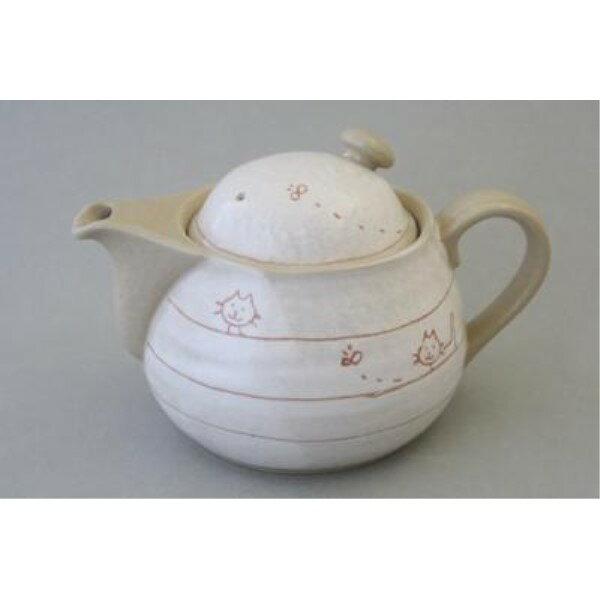 紅茶ポット 和食器 かわいい 遊び猫 ポット 急須 金網茶こし付(黒)500ml 瀬戸焼