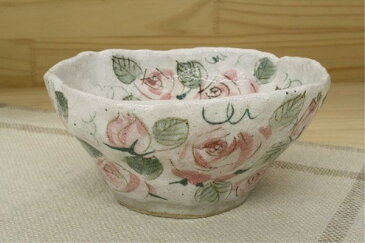 和柄 和皿 丸い 春を感じる 季節の器 バラ園 預け鉢 紅 中鉢 薔薇 ピンク