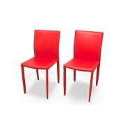 ダイニングチェアー チェア 椅子 ダイニングチェア 2脚セット カラー:レッド