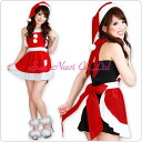 サンタ 衣装 エプロン、帽子 の2点セット。 素敵な 暮らし 【コスチューム】クリスマスサンタクロース・ショート・エプロン 赤・Mサイズ 1点