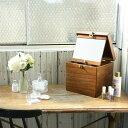 メイクボックス 木製 鏡付き コスメティックボックス