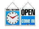 OPEN CLOSES WILL RETURN クロックサインプレート・オープン・クローズ・看板・アメリカ・業務用・営業看板・リターン・営業時間・店舗..