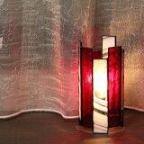ステンドグラスの筒ランプ【卓上ランプ】