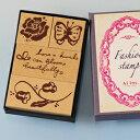 ファッションスタンプ-薔薇と蝶-【スタンプ オリジナルスタンプ かわいいスタンプ 蝶々 薔薇 バラ アンティーク】