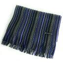 マフラー 男女兼用 ストライプ パープル×グレー ラッセル縦編み ストライプマフラー 杢糸使用 ビビットラッセル (日本製・マフラー・ストール・巻物)