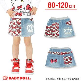 三麗鷗 _ Hello Kitty 模式開關牛仔裙-兒童服裝嬰兒孩子女孩娃娃娃娃裝注滿 HELLO KITTY 8230 K_fw_sk