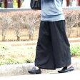 コットンワイドパンツ ブラック 袴パンツ ガウチョパンツ アンクルパンツ 黒