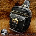 【ウエストバッグ】【ウエストポーチ】ナチュラルレザー×ハンドメイド【本革】【牛革】【レザーバッグ】【鞄】【カバン】【ヒップバッグ】bag-pou010-bk