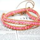 ピンクコーラル(サンゴ 珊瑚) レザーブレスレット マクラメブレス ブレス...