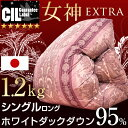 女神 1.2キロ 5年保証 ホワイト ダック ダウン 95% かさ高180mm 羽毛布団 CILブラックラベル シングル ロング 日本製 国内パワーアップ ツインキルト
