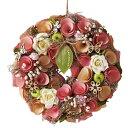 ナチュラルローズリース 小 1個色とりどりの天然素材を使用した、こだわりのリースです。母の日 ローズ 造花 リース