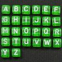 グリーン/白文字 アルファベットビーズ レタービーズ 6mmキューブ プラビーズ 1コ売り お好きな文字がえらべます