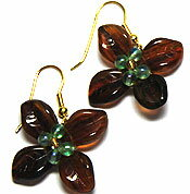 Beads accessories leaf flower pierced earrings (Urban brown)