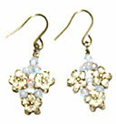 Silver beaded accessories Flower Earrings (Alexandrite AB)