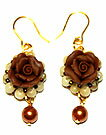 Bead accessories Fimo elegant rose earring (brown & beige)