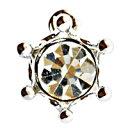 ミルククラウン型のジルコニアチャーム クリスタル・銀色(ロジウム)