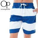 ショッピングサーフパンツ OP サーフトランクス メンズ水着 シンプル ネイビー ホワイト 519423 紺色
