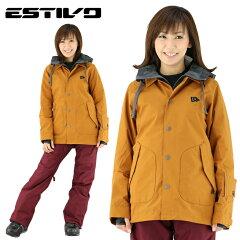 エスティボ スノーウェア 防水 ウェア スノボ レディース 暖かい ディライトジャケット アーモンド スキー