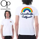 OP サーフTシャツ メンズ 半袖 レインボー 刺繍 プリント サーフ系 Tシャツ オーシャンパシフィック