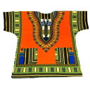 ダシキ Dashiki (オレンジ,Orange) アフリカ アフリカン アフリカンシャツ アフリカ民族衣装 民族衣装 衣装 ヒップホップ ダンス ダンサー