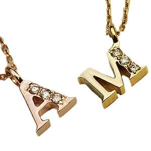 イニシャル ネックレス ダイヤモンド ゴールド