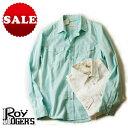 ショッピングウエスタン 【定価23,100円(税込)】ROY ROGER'S ロイ ロジャース 日に映えるカラーリング!コーデに爽やかさを加える魅力的な1枚!コットンのサラリとした生地感で快適に着れるカラーシャツ ウエスタンシャツ コットン ホワイト グリーン 31833007 イタリア製 XS S M L XL