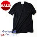 【定価10,780円(税込)】Project e プロジェクトイー 定番の無地Tもヒネリを効かせて周囲と差をつける!ダメージ加工 ポケット付き クルーネックTシャツ 刺繍 カットソー MTP  XS S M L XL XXL ブラック イタリア製 #602