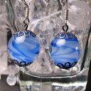 ショッピング旅行 とんぼ玉 ピアス ガラス 工芸 ビーズ アクセサリー ブルー 青 13mm