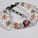 ショッピング琉球 とんぼ玉 ブレスレット ほたる玉 数珠風 光る ガラス 工芸 アクセサリー ピンク