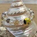 ショッピング琉球 とんぼ玉 ブレスレット ほたる玉 数珠風 光る ガラス 工芸 アクセサリー イエロー