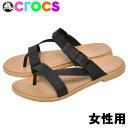 ショッピングcrocs クロックス リラックスタイプ 女性用 CROCS tulum toe post sandal 206108 レディース サンダル ブラックxタン (01-12395630)