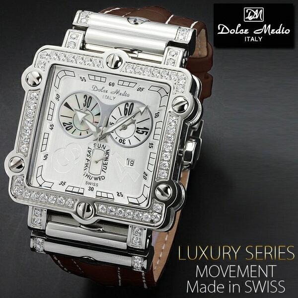 腕時計 メンズ ブランド送料無料 1年保証 正規 Dolce Medio ドルチェ メディオ スイス 製 ムーブメント仕様 クロノグラフ 腕時計 BOX付 10P03Dec16 TOPページに割引クーポンをご用意! 送料無料 メンズ 腕時計 ブランド 腕時計 正規品