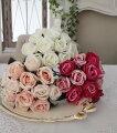 スタイルロココ 小ぶりで愛らしいプリンセスローズ(ホワイト・ピンク・モーブ)  【シルクフラワー・アーティフィシャルフラワー】 花束 薔薇 造花