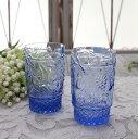 アンティーク風なガラス食器 タンブラーM(フルーツ柄 ブルー) ガラス グラス コップ ポルトガル製 おしゃれ シャビーシック