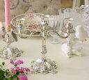 シルバーのエレガントな輝き シルバーキャンドルスタンド3灯 ローズモチーフ キャンドルホルダー