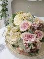 スタイルロココ 花束になったイングリッシュローズブーケ(クリーム・ピンク)  【シルクフラワー・アーティフィシャルフラワー】 花束 薔薇 造花 可愛い