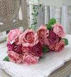 紫红混合玫瑰花束9圈粉红色 紫色 葡萄酒玫瑰[モーブミックス ローズブーケ 9輪 ピンク パープル ワイン 薔薇]