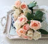 ホワイトピンクローズブーケ9輪 【シルクフラワー・アーティフィシャルフラワー】 ピンク パープル ワイン 薔薇 造花